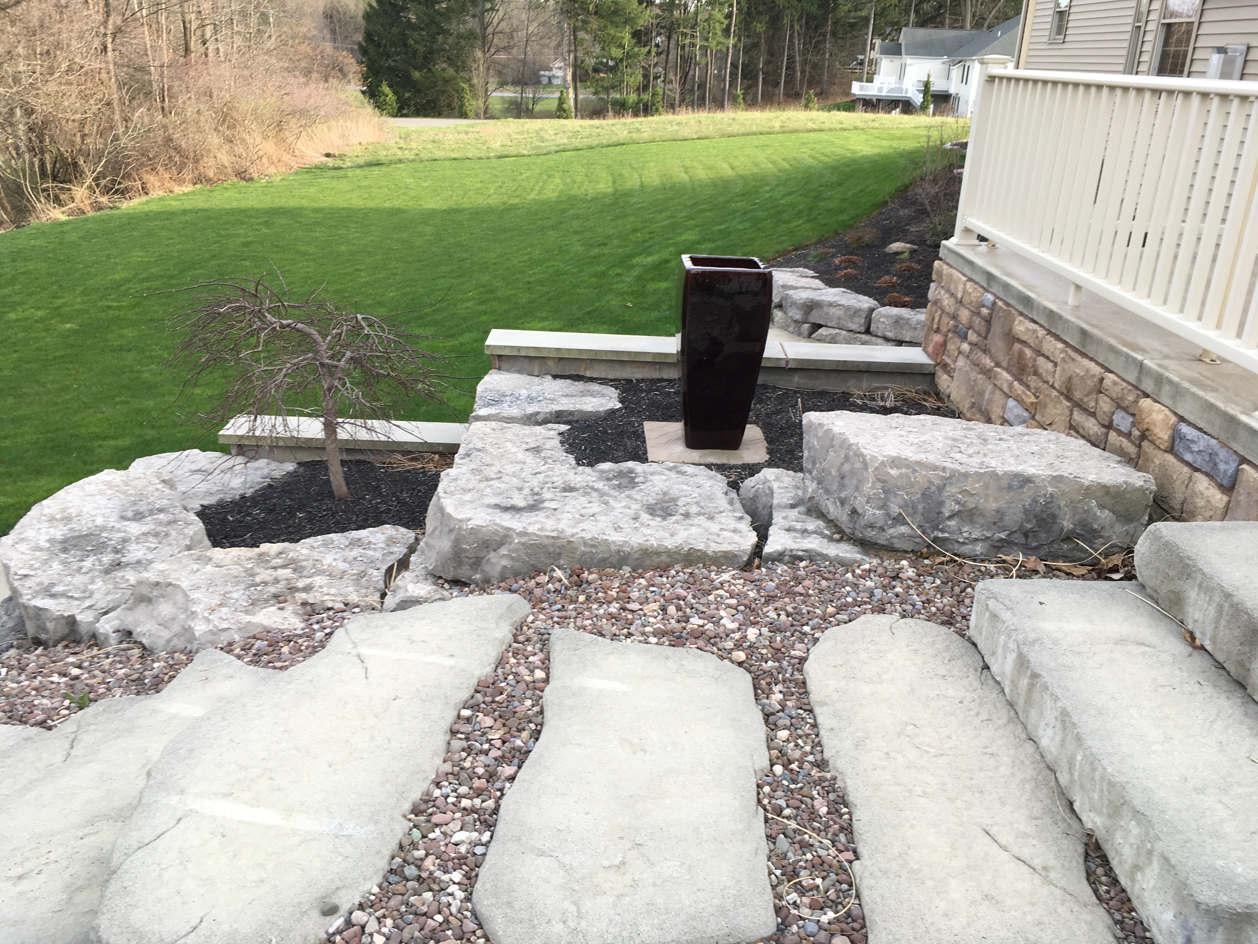 Boulder Wall Beds with Steps