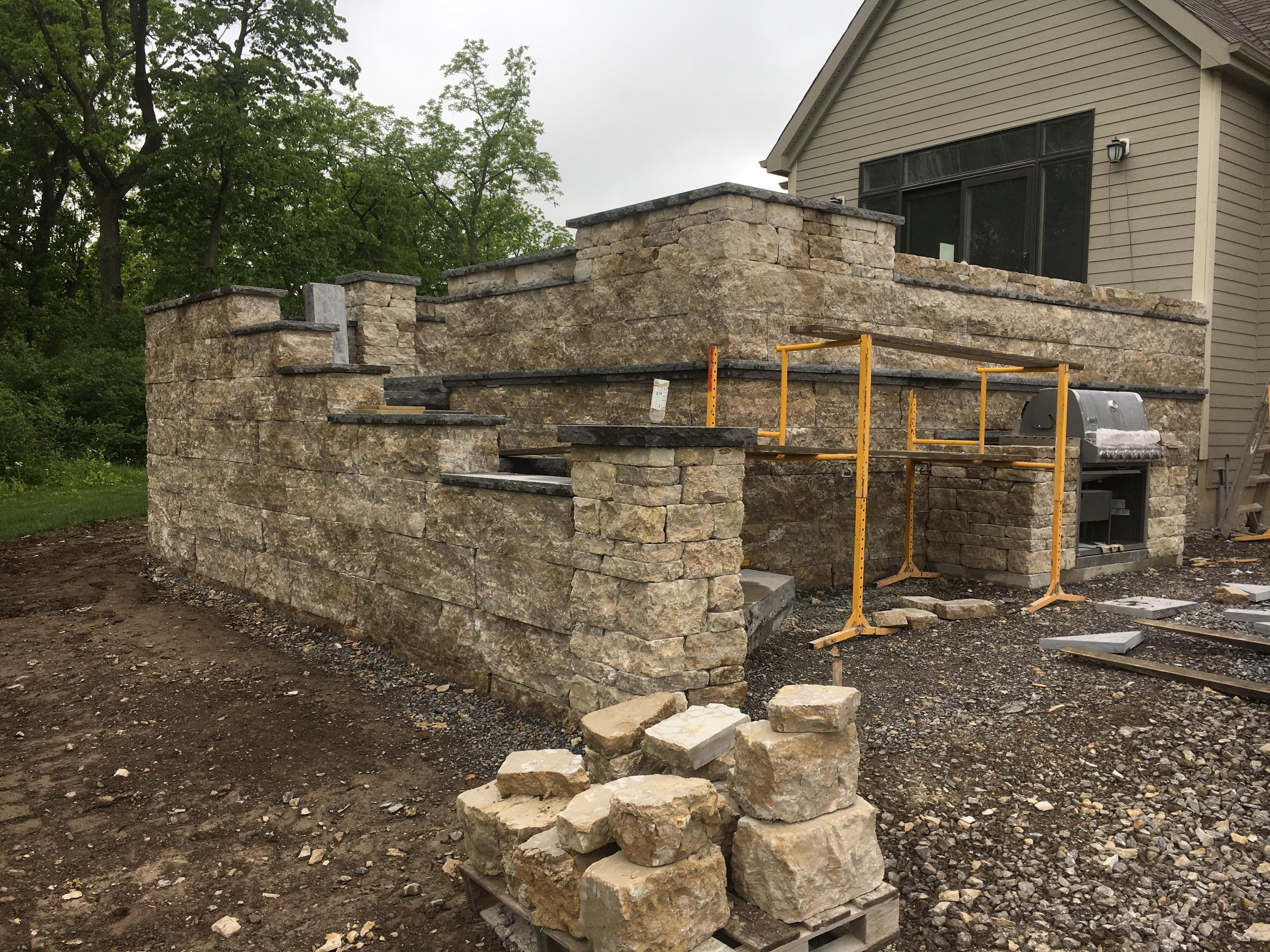 Patio Wall Construction 2