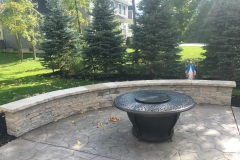 Built in Seat Wall with Fire Bowl